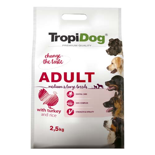 TropiDog Premium Adult Medium & Large 2,5kg morka s ryžou