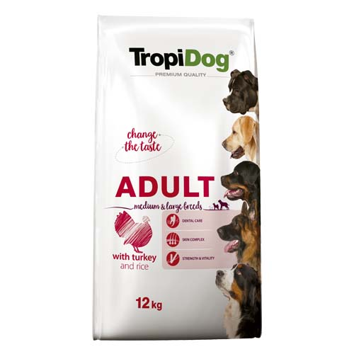 TropiDog Premium Adult Medium & Large 12kg morka s ryžou