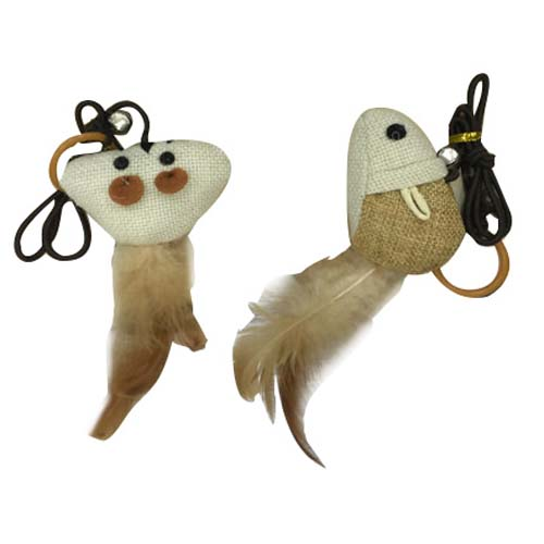 LES FILOUS Nature cat toy w/ feathers & bell, 8cmn 20g
