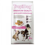 TropiDog Premium Junior Small & Medium 8kg morka s ryžou